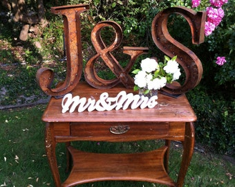 Rustic Bride & Groom Initials, Wedding Signage -Free Standing Framed Metal Letters