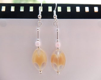 Pink Pearl Glass Earrings - Silver Plated & Handmade