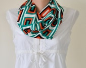 Geometric Fashion Scarf, Geometric Infinity Scarf, Geometric Shapes, Emerald Green, Orange, Women, Feminine, Fast Delivery