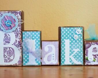 Lavender Paisley Nursery Letters- Teal Purple Turquoise Room- Turquoise Purple Nursery- Teal Purple- Custom Wood Blocks- Aqua Purple Nursery