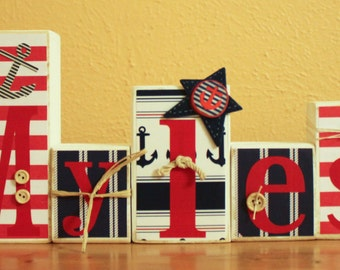 Navy Red Nautical Room Decor- Personalized Nautical Letters-  Captain Nursery- Sailboat Nursery- Nautical Party- Nautical Birthday Decor