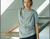 Heather Gray Cotton Blouse/ Oversized Short Sleeved Blouse/ Asymmetrical Heather Gray Top/ Casual Top by AryaSense/ TPRK12LG