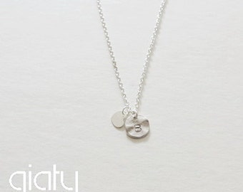 Silver Initial With Heart Necklace - Small Necklace, Everyday Necklace, Bridesmaid Necklace, Wedding Necklace, Initial Necklace,