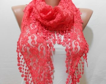 Coral Lace scarf Spring Summer Lightweight Scarf Mothers Day Gift Scarf Coral wedding scarf Women Fashion Accessories Gift for her ScarfClub