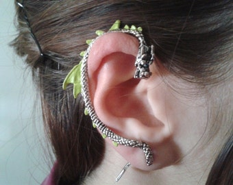 Green, Black or Glitter Dragon earring -   Silver dragon cuff jewelry