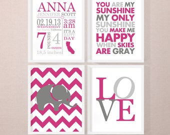 new baby gift, personalized baby announcement, girl birth stats wall art, baby girl room decor, new parent gift, baby decor, baby stats