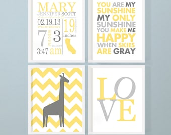 yellow and gray nursery wall art, birth announcement wall art, personalized baby decor, baby stats wall art, new baby gift, baby room decor