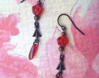 Dark earrings with red flower, czech glass, dangle earrings, elegant earrings, gothic earrings, goth earrings, gothic jewelry, romantic