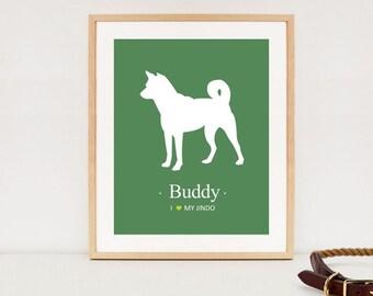 Dog silhouette art - I love Jindo wall art decor - Custom pet print gift - Personalized dog art print