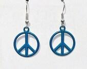 Surgical Steel Earrings, Peace Sign Earrings, Peace Sign Jewelry, Aqua Earrings, Charm Earrings