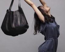 Black leather bag- Soft leather bag - Tote bag- Carolina bag