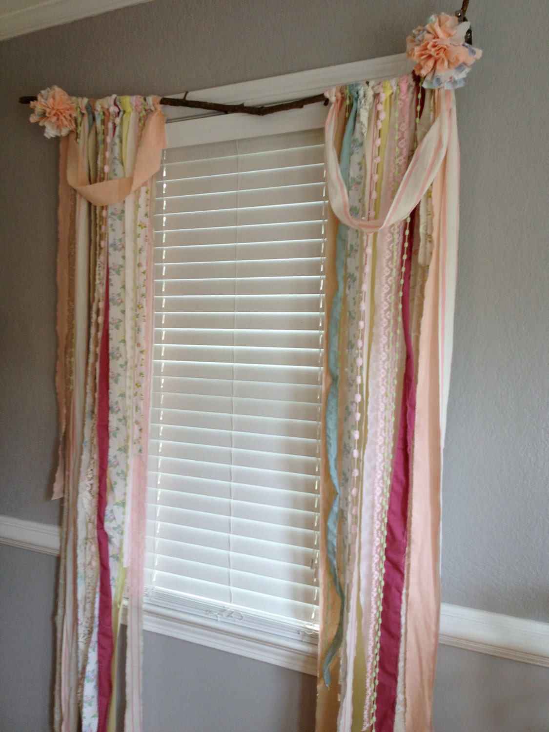 Shabby Chic Rustic Rag Curtain Window Treatment Panels