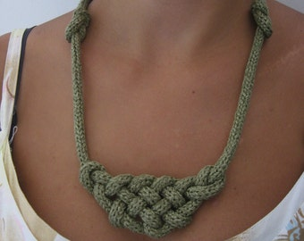 Statement green necklace, Green necklace, long horn knot jewelry, urban jewelry, textile necklace, knitted necklace, chain knit necklace.