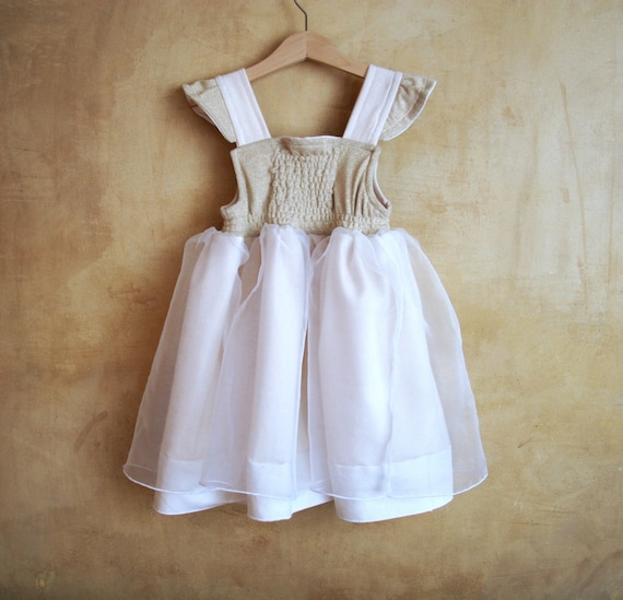 Child Angel dress, Rustic Golden White Flower Girl dress, Size 3T, Veil, bodice jersey lamè. Only one Ready to Ship