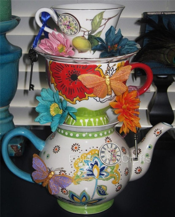 Tea Party Centerpieces: Items Similar To Whimsical Stacked Teapot & Teacup