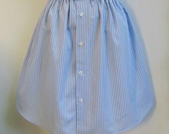Upcycled Skirt Size 8, Shirt Skirt, Shirt Refashion, School Skirt, Eco Friendly Skirt