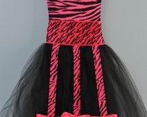 Hot Pink and Black Zebra-Striped Tutu Bow Holder