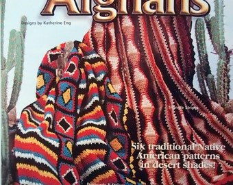 Navajo Afghans By Katherine Eng Six Traditional Native American Patterns In Desert Shades Crochet Leaflet 1997