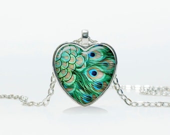 Peacock pendant  Heart Peacock necklace jewelry  Heart shape Heart pendant