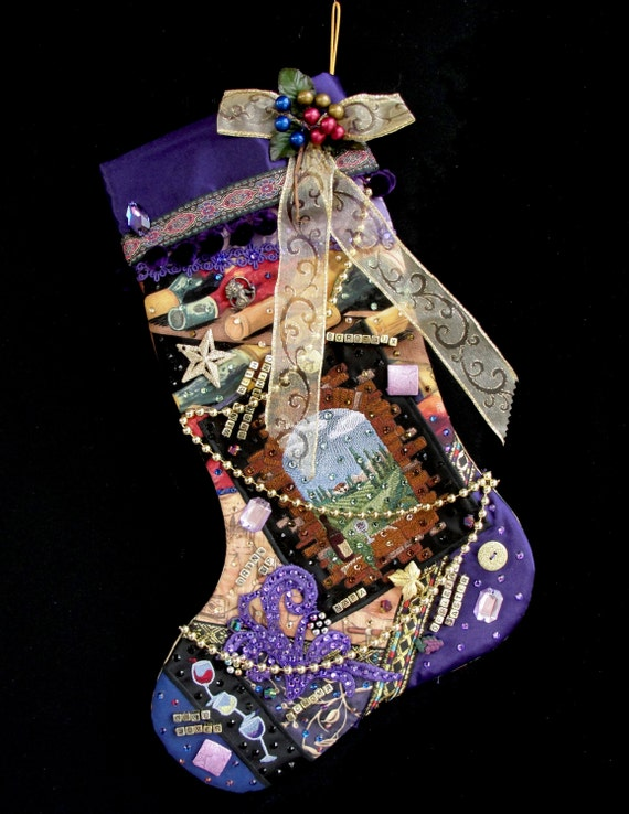 Wine country christmas stocking a custom handmade for Custom made christmas stockings