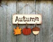 Autumn Sign Decoration Halloween Wood Plaque Fall Rustic Leaf Pumpkin Country Home Decor Gift Sign Thanksgiving House Wall Hanging Handmade - KithKinCrafts