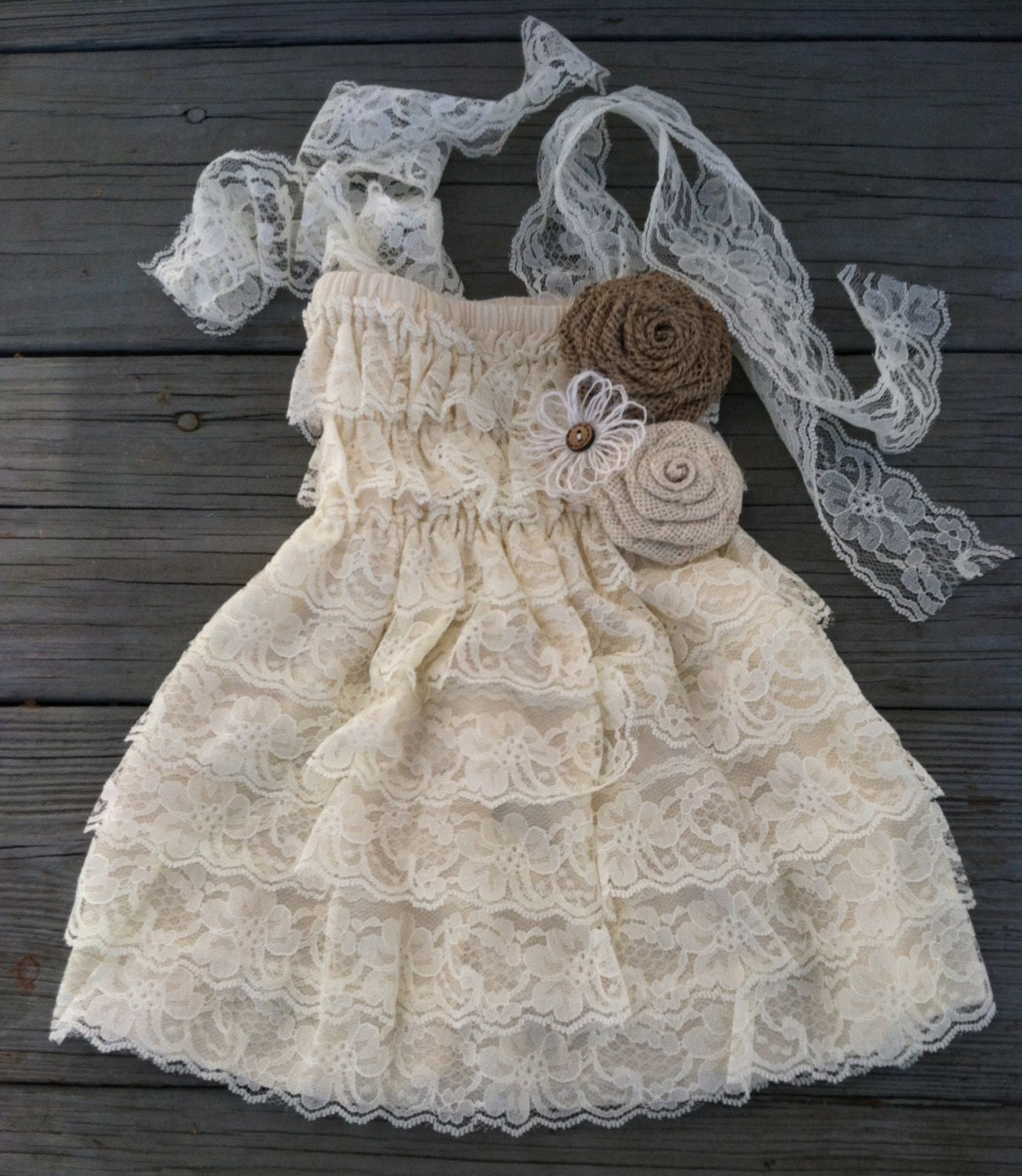 Rustic Lace Flower Girl Dress Rustic Flower by