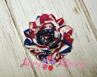 "2.5"" Vintage American Flag shabby flower trim - frayed chiffon - rose flowers by the yard - white blue flag - JT A245 CX"