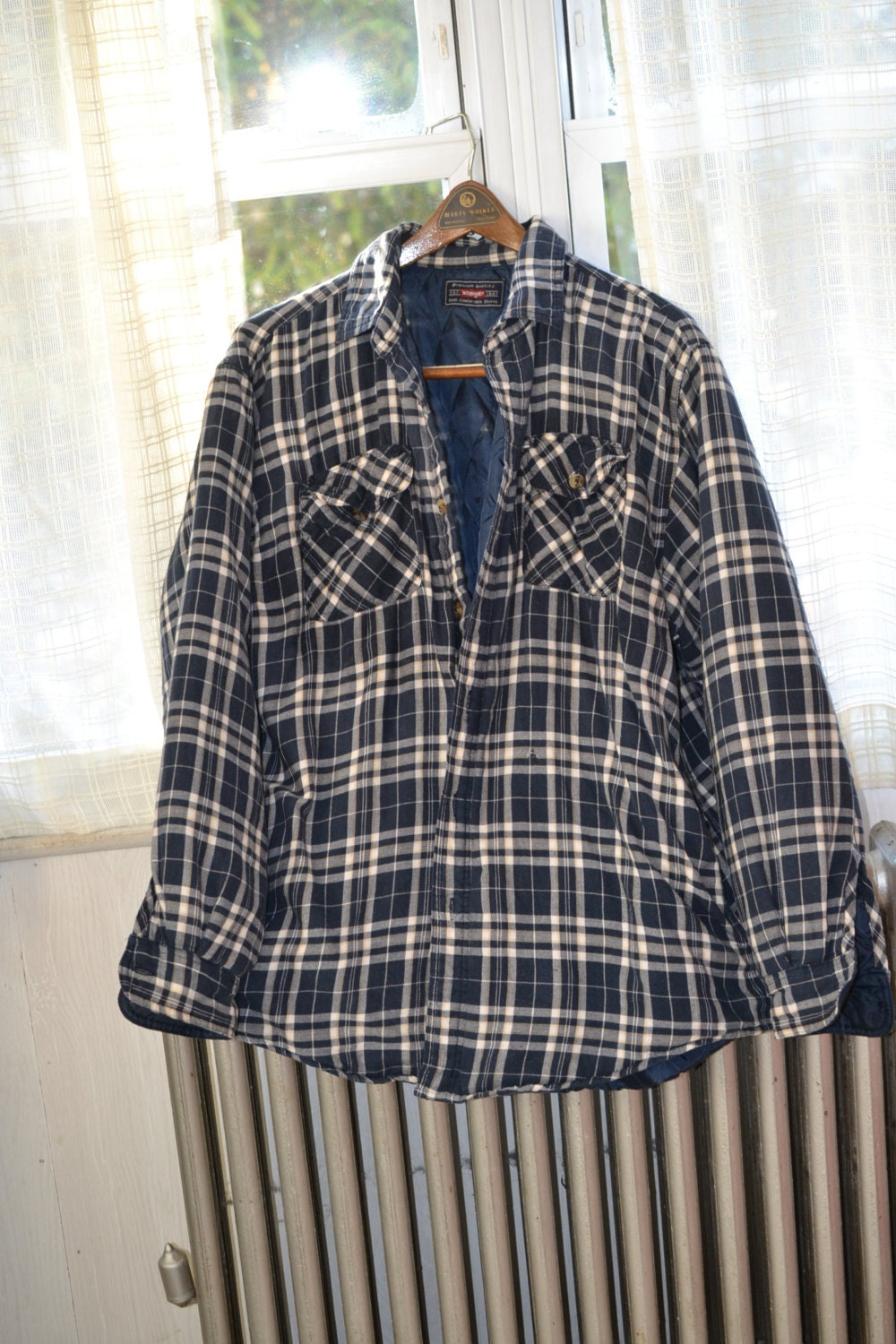 Men Flannel Shirt Jacket With Quilted Lining