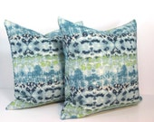 SUMMER PILLOW. Pair of 16 x 16 Blue Green & White Abstract Pattern Pillow Covers. Modern Pillow. Trendy Pillow. Throw Pillow. Stripe Pillows