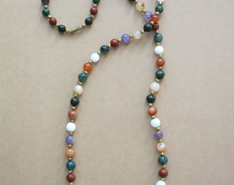 Vintage multicolored beaded stone necklace