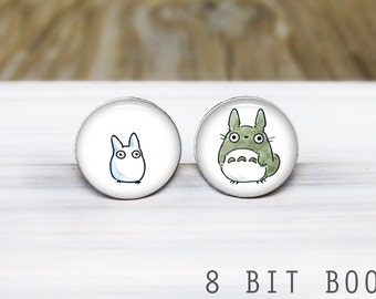 Totoro Earrings - Anime Studio Ghibli Silver Stud Earrings - Hypoallergenic Earrings for Sensitive Ears