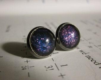 Dark Matter  - Earring studs - science jewelry - science earrings - galaxy jewelry - physics earrings - fake plugs - plug earrings - nebula