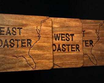 Set of 4 wood East Coaster West Coaster Coasters - Hand Engraved