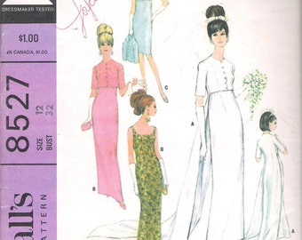 McCall's 8527 Vintage 1960's Misses' Brides', Bridesmaids', or Evening Dress in Two Lengths and Jacket with Train; Sizes 14