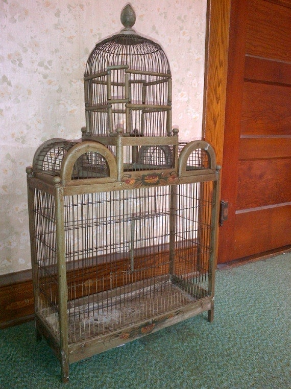 large antique dome top wood and wire bird cage. Black Bedroom Furniture Sets. Home Design Ideas