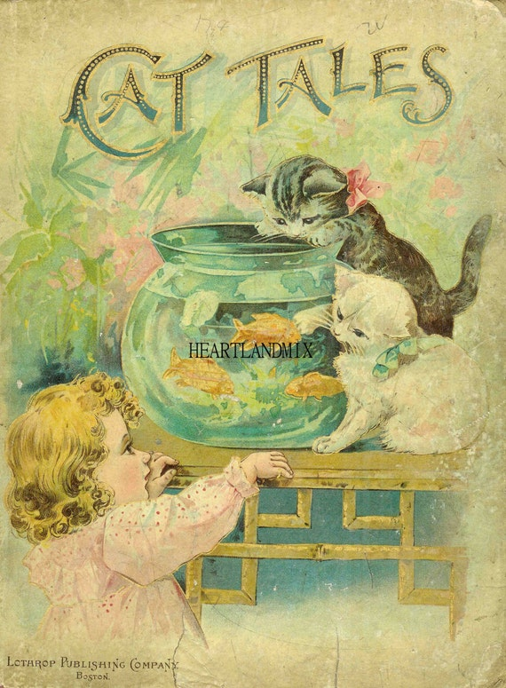 Kids Art Book Cover : Vintage cats fish and little girl victorian by