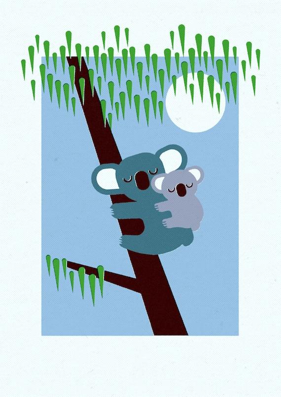 Koala and Baby, Retro Print, Wall Art, Home Decor