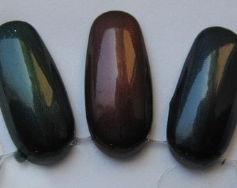 Shadow Gem Trio Dark Blackened Shimmer Nail Lacquer Green Red Blue Indie 15mL Starlight and Sparkles Polish