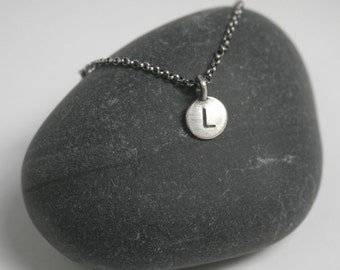 Personalized Round Initial Paddle Tag Stamped Sterling Silver Medium - Just the Tag