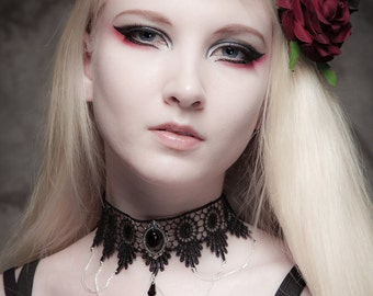 Gothic necklace choker Black Onyx with elegant draped chains - FEATURED in Devolution magazine - SINISTRA