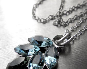 Indian Sapphire Blue Crystal Necklace - Slate Blue Navette Rhinestone Crystal Pendant, Antiqued Silver - Something Blue Bridal Jewelry
