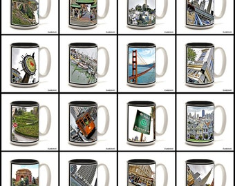 Full Color 15 oz. Ceramic Coffee Mug with original San Francisco photography.  Pick any one. 16 to choose from.