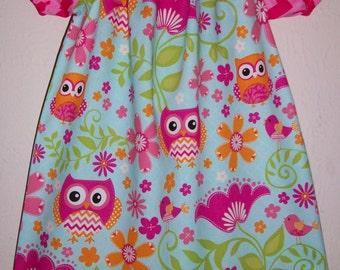 Short Sleeve Dress, Peasant Dress, Chevron Dress,  Owl Dress, Spring Dress, Easter Dress, Forest Party, Birds Flowers Woodland toddler girl