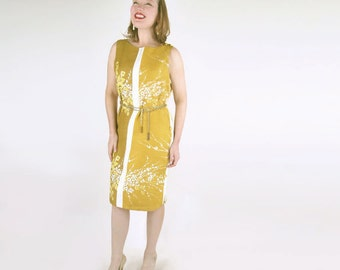 60s Golden Yellow Flower Shift Dress M/L