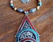 Necklace, Thunder Dragon, Large Ethnic Pendant Turquoise Coral Inlay, Vintage India Silver, Organic Colorful Earthy Tribal, Gemstones