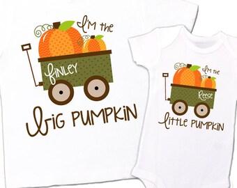 pumpkin matching sibling set - fall halloween little pumpkins big little sister brother shirt set