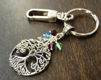 SALE - Our Roots Grow Deep - Family Tree - Custom Made - Birthstone Keychain - GREAT GIFT!!!