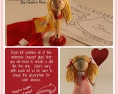 DIY Clothespin Doll Kit  with A-line Dress