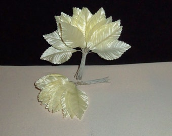"""Vintage Millinery Flower Satin Rose Leaves LOT of 50 Hat Making Supplies Ivory Off White 2"""""""