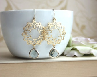 Gold Grey Moroccan, Boho Filigree Chandelier Earrings. Black Diamond Grey Glass Drop Earrings. Maid of Honor. Bridesmaids Gifts Grey Weddin